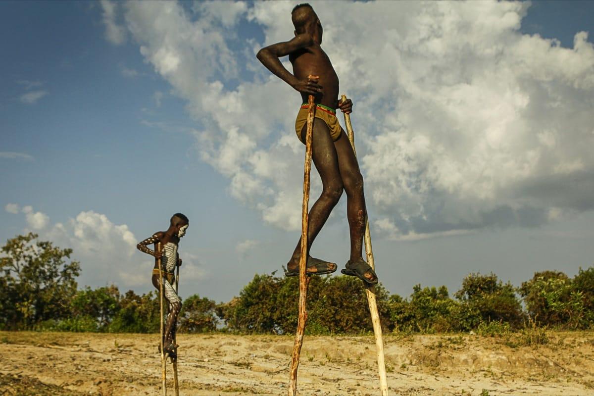 Ethiopia kids Omo valley stilt