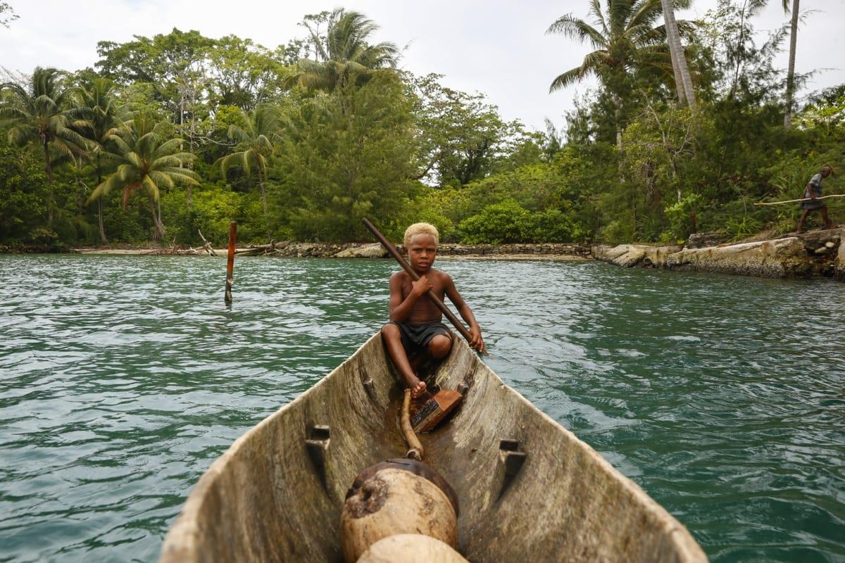 Solomon Islands kid canoe