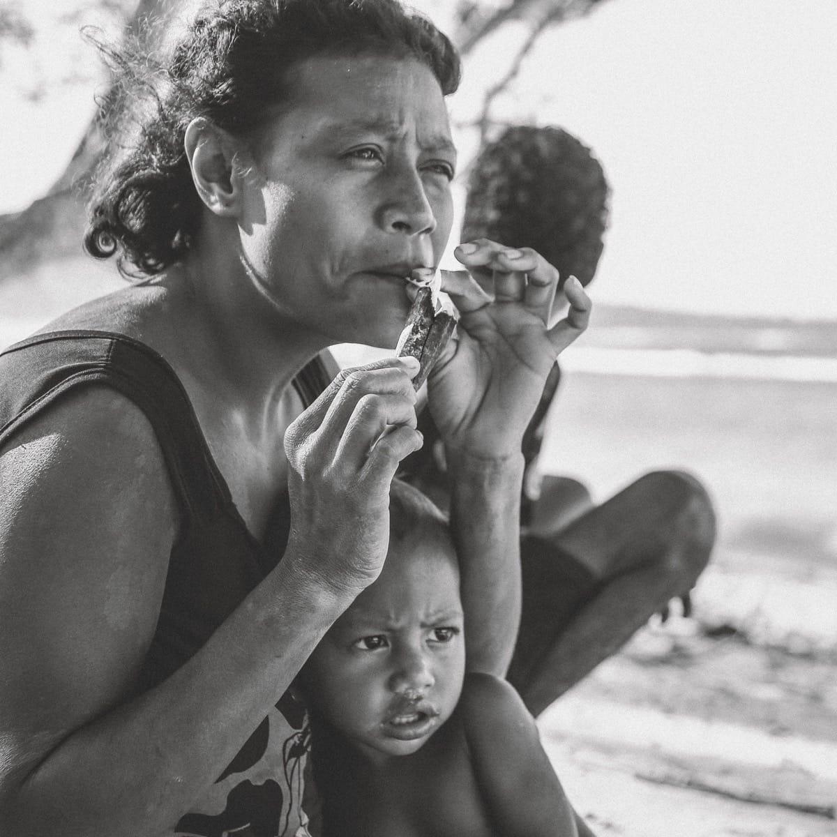Papua New Guinea mother smoking