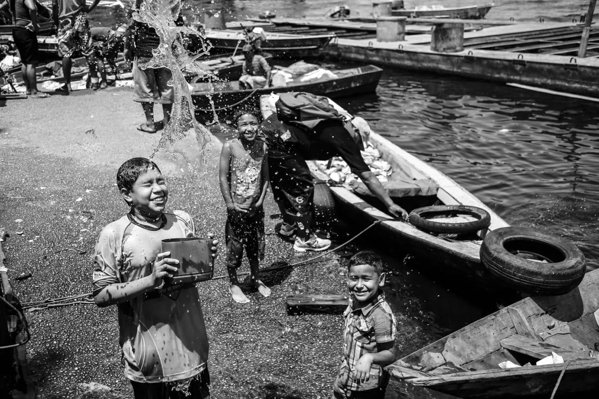 Brazil Amazon cchildren play water