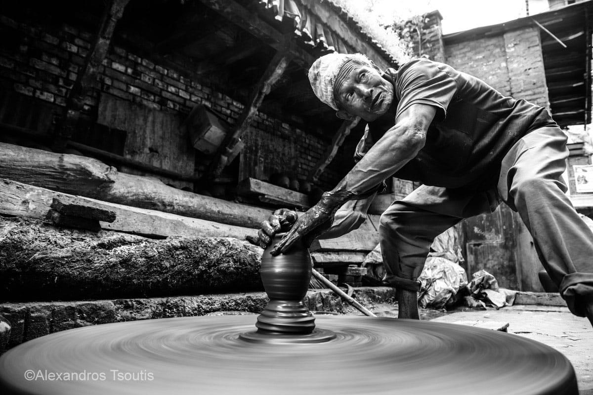 Nepal pottery man