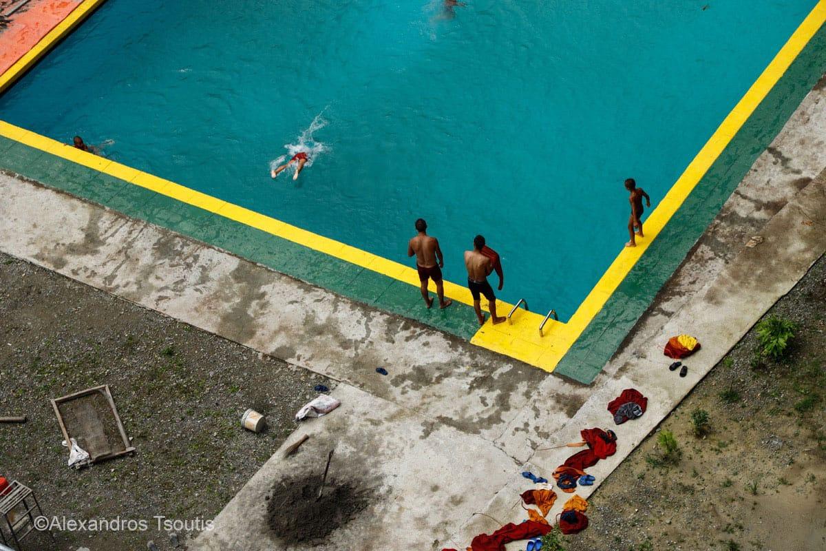 Nepal monks swimming Buddhism