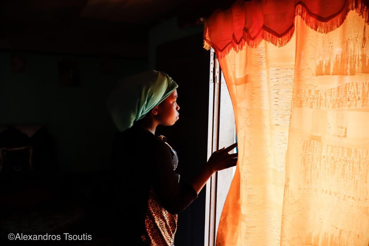 Cameroon girl curtain